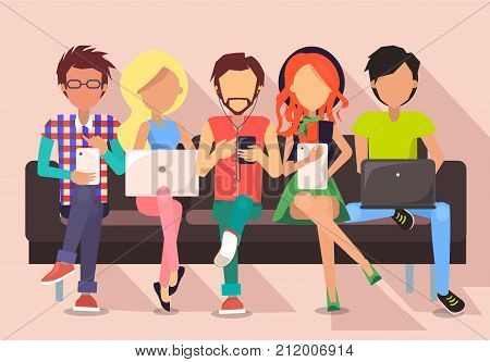 People and technology banner vector illustration. Males and females sit on bench in wi-fi zone using modern gadgets and getting free internet access