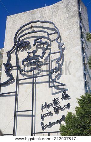 HAVANA, CUBA - DECEMBER 8 2016: Giant sculpture of Che Guevara on facade of Ministry of Interior at Plaza de la Revolucion / Revolution Square in Vedado district of Havana, Cuba