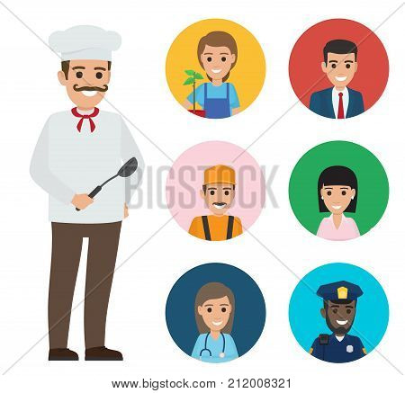 Italian chef in white uniform, mustache and ladle with round icons with happy representatives of most common professions vector illustrations.