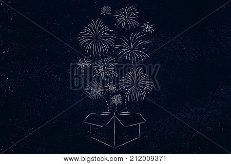 Box With Fireworks Flying Out Of It