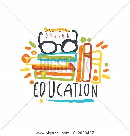 Education day label or badge concept with books and glasses. Logo original design for educational center, learning business, school or studying class. Back to school. Flat vector isolated on white.