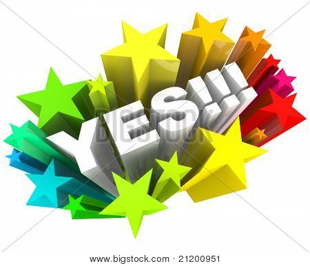 The word Yes surrounded by stars in a colorful starburst, illustrating excitement and approval over a successful response