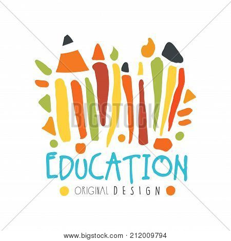 Abstract education day label concept with school supplies. Educational logo original design for educational center, learning business, school. Back to school emblem. Flat vector isolated on white.