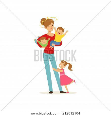 Cartoon flat vector illustration of dizziness young mother with stars spinning around her head and little kids, daughter and two sons. Reality of motherhood routine. Family action isolated on white.
