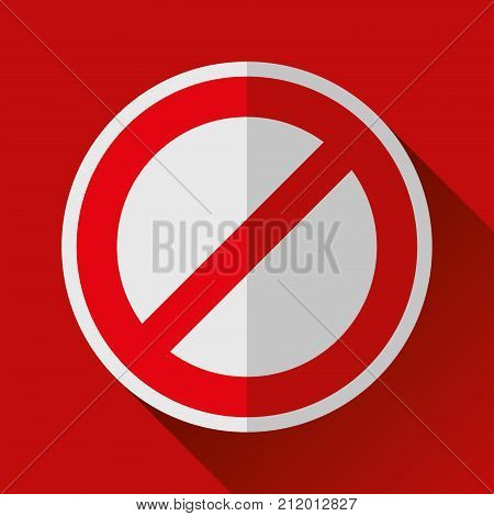 Prohibition sign icon in flat style, crossed out circle, vector design danger illustration for you project