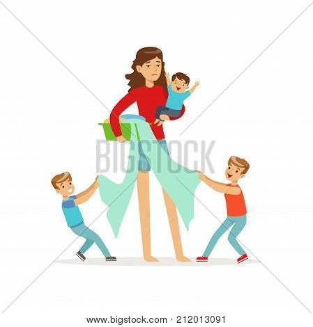 Flat vector cartoon illustration of mother and three disobedient sons characters. Wash basin with laundry in woman s hand. Household chores. Multitasking female. Crazy mom s day. Family action.