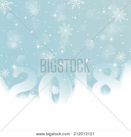 Happy New Year 2018. Abstract background of crystal snowflakes, bright twinkling snow, highlights and sparkles. Postcard for New Year, Christmas. Poster, template. Vector illustration.