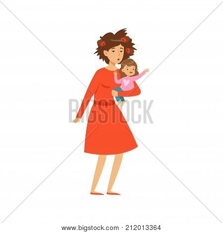 Flat vector illustration of sleepy mother in red dress with disheveled hair holding daughter in her hand. Crazy mom s day. Cartoon woman and baby characters isolated on white. Family action.