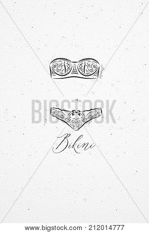 Underwear bikini drawing in vintage style on watercolor paper background