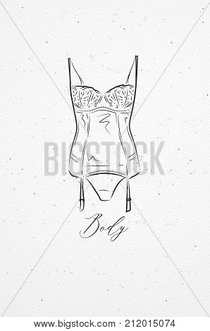 Underwear fashion body drawing in vintage style on watercolor paper background