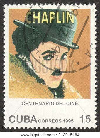 MOSCOW RUSSIA - CIRCA OCTOBER 2017: a post stamp printed in CUBA shows a portrait of Charles Chaplin the series