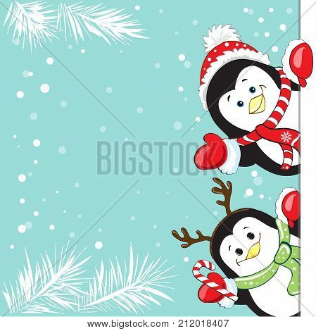 Funny penguins Christmas banner on a snow background