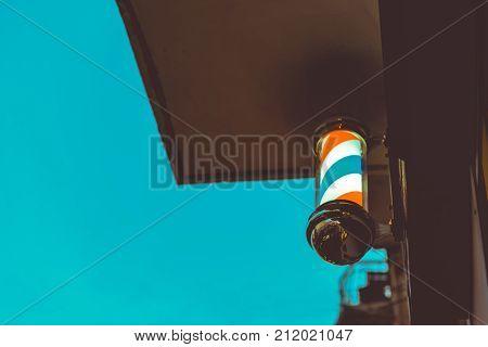 Barber Shop Pole. Symbol Of A Barbershop. Lamp.