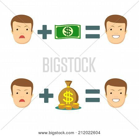 Money makes you smile. Stock vector illustration for poster, greeting card, website, ad, business presentation, advertisement design.