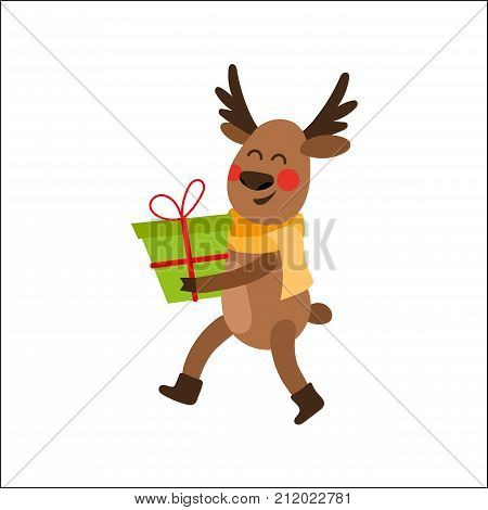Cute, funny Christmas reindeer character holding, carrying a gift, present box, cartoon vector illustration isolated on white background. Cartoon reindeer walking with a present, Christmas decoration