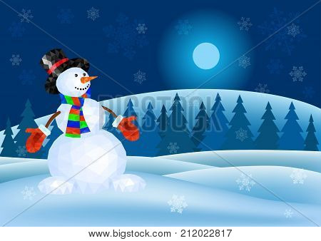Snowman in red mittens and striped scarf on abstract winter background - vector