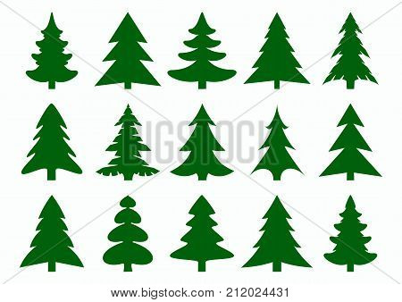 Set of green fir-tree and pines silhouettes isolated on white background. New Year Christmas tree modern icons. Festive symbols for your design. Large collection of modern icons. Vector illustration