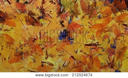 abstract background of wide brushstrokes of oil paint of different colors. Multicolor texture traces. Canvas with strokes of paint