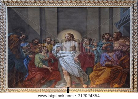 MANTUA, ITALY - JUNE 04: Appearance of Jesus to the disciples, fresco in the basilica of Saint Andrew in Mantua, Italy on June 04, 2017.