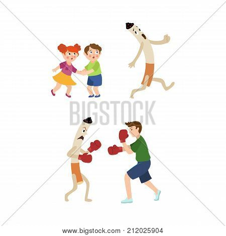 Young man fighting smoking habit in box gloves, frightened kids and huge cigarette running away, cartoon vector illustration isolated on white background. Man fighting giant cigarette, scared kids