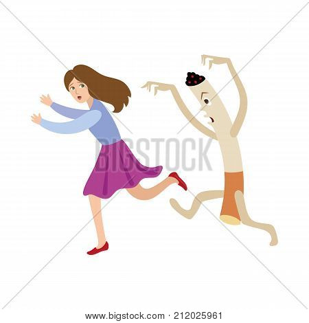 Huge evil cigarette chasing, running after frightened girl, woman, threat of smoking habit, cartoon vector illustration isolated on white background. Girl, woman running from huge evil cigarette