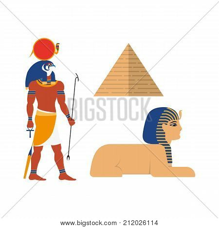 vector flat egypt mythical symbols set. sphinx - ancient creature with head human woman and lion body, pyramid and Amon Ra supreme god of sun icon. Isolated illustration white background.