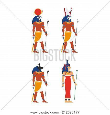 vector flat egypt gods, goddess set. Anubis - ancient god of egypt with head of jackal or dog, Amon-Ra - supreme god of sun, Horus - god of sky and Isis icon. Isolated illustration on white background