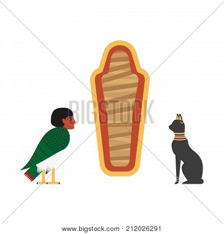 vector flat egypt mythical symbols set. Embodiment of personality, soul - Ba - creature with bird body and woman head, black cat and empty sarcophagus icon. Isolated illustration white background.