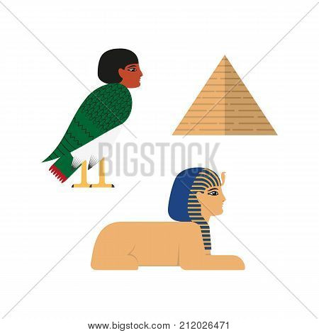 vector flat egypt mythical symbols set. sphinx - ancient creature with head human woman and lion body, pyramid and Ba - soul with bird body and woman head icon. Isolated illustration white background.