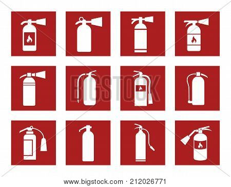 fire extinguisher icons and signs, vector illustration