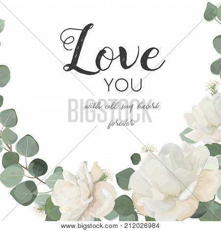 Vector floral design card. White Rose powder peony flower Eucalyptus branch leaves greenery mix delicate bouquet. Greeting postcard wedding invite. Frame border with