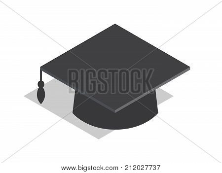 Black square academic hat with tassel as part of graduation outfit and symbol of knowledge isolated vector illustration on white background.