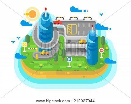 Multi level parking flat. Garage building architecture for cars, system place for parked transport. Vector illustration