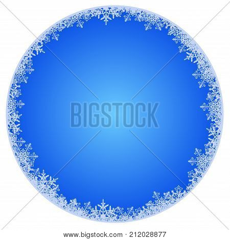 Abstract round winter background with snowflakes on the edge - vector