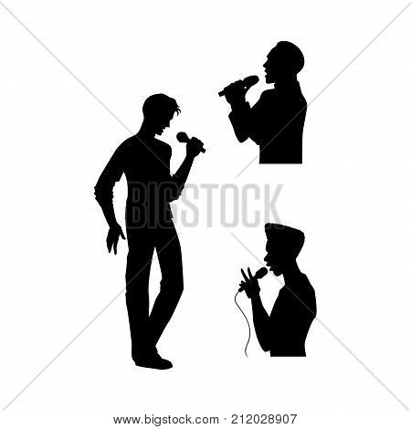 vector man portrait and full lenght silhouettes singing with microphone set. Isolated illustration on white background. Karaoke club design logo elements