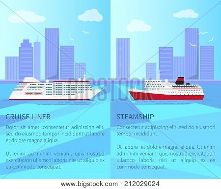 Luxurious cruise liner and spacious steamship out in sea with high skyscrapers on horizon and white gulls in sky vector illustrations.