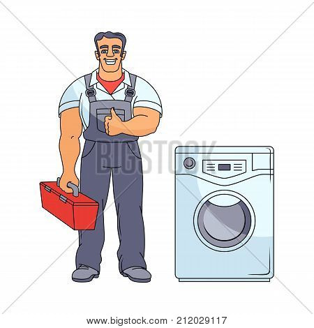 vector cartoon handsome muscular man blumber in working uniform holding case with tools and equipment showing thumbs up standing near fixed washing machine. isolated illustration on a white background