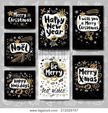 Merry Christmas Happy New set sketch style. Christmas lettering greeting cards. Golden festive doodles trendy firecracker fireworks. Hand drawn vector illustration.