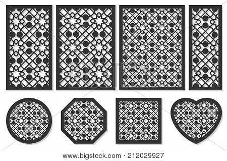 Set of cards to cut. Vector panels for laser cutting. The ratio 1:2, 2:3, 3:4, 1:3, round, octagon, square, heart. Cut silhouette with geometric patterns. Used for openwork partitions, panels, printing, laser cutting, stencil.
