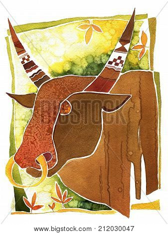 Astrology sign symbol  bull on pattern background