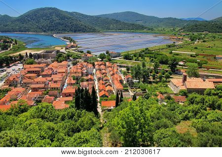 View Of Ston Town From Defensive Wall, Peljesac Peninsula, Croatia