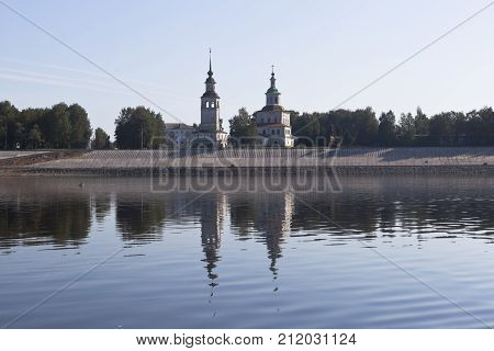 View from the river Sukhona on a church of St. Nicholas in the city of Veliky Ustyug on a summer morning, Vologda region, Russia
