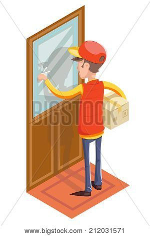 Express Courier Special Delivery Boy Man Messenger Cardboard Box Concept Knocking Customer Door Isolated Icon Retro Isometric Cartoon Design Vector Illustration