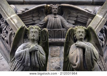 Angels carved from stone on an old irish church