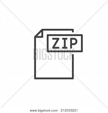 Zip format document line icon, outline vector sign, linear style pictogram isolated on white. File formats symbol, logo illustration. Editable stroke