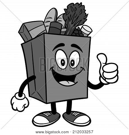 A vector illustration of a cartoon Grocery Bag.