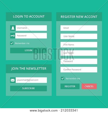 Log in and register web screens for sites. On a green background and sections for adding an interlocutor. Vector