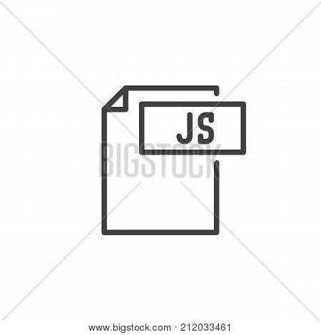 Js format document line icon, outline vector sign, linear style pictogram isolated on white. File formats symbol, logo illustration. Editable stroke