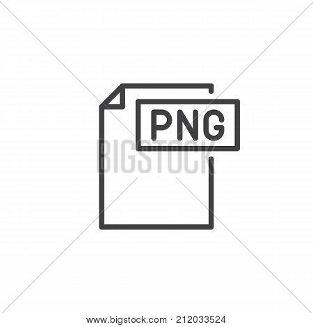 Png format document line icon, outline vector sign, linear style pictogram isolated on white. File formats symbol, logo illustration. Editable stroke