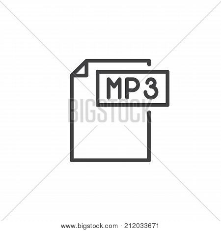 Mp3 format document line icon, outline vector sign, linear style pictogram isolated on white. File formats symbol, logo illustration. Editable stroke